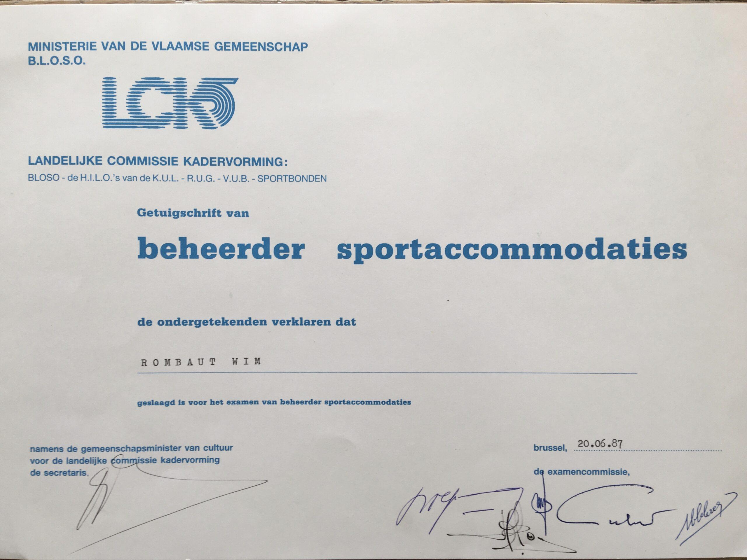 Diploma beheerder sportaccomodaties Wim Rombaut